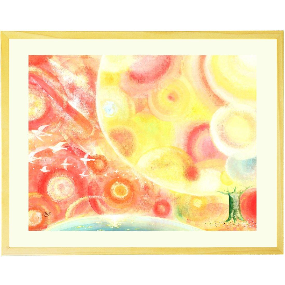 優しい癒しの絵画 黄色と赤の絵 「縁(えん) ~ 全ての出逢いに感謝 ~」 額入りL(525×410mm) 玄関やリビング、プレゼントに B013WZLUK8Lサイズ