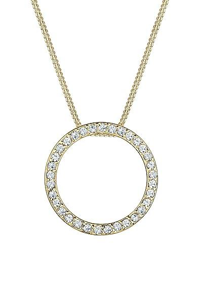 f29d526b4 Elli Women's 925 Sterling Silver Gold Swarovski Crystals Circle Geo Necklace