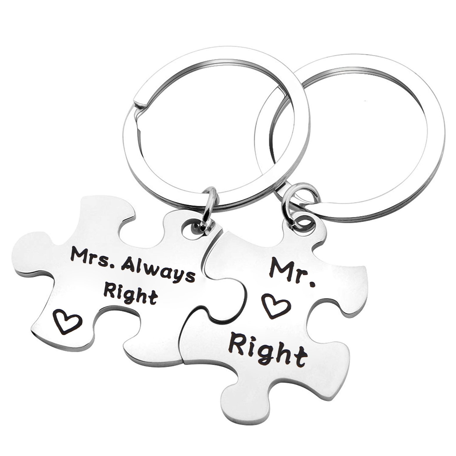 QIIER Couples Puzzle Keychain Mr. Right & Mrs. Always Right Wedding Gift Engagement Gift for Couples (Silver)