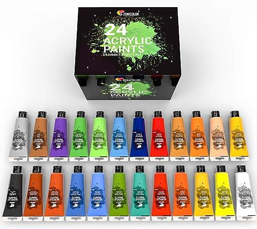 Kit de 24 Pinturas Acrílicas, 24 Tubos de 120ml, 24 Colores ...