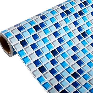Yenhome Salle de Bain Bleu PVC Amovible Sticker Mural de Cuisine étanche  Autocollant Papier Peint mosaïque Stickers Autocollant Mural Home Decor