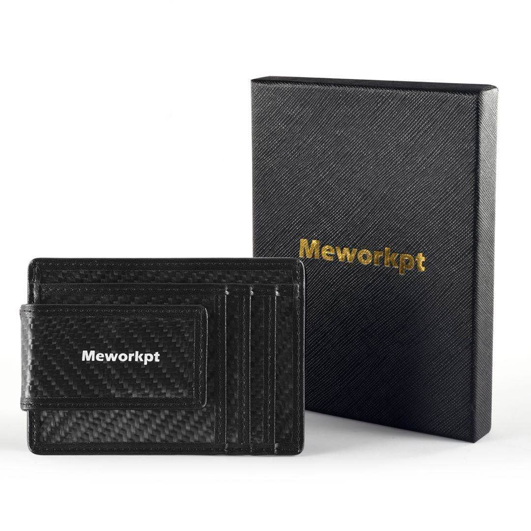 【Gift Box】MeWorkpt Carbon Fiber Front Money Clip Slim Minimalist Wallets with Powerful Magnets Plus RFID Blocking
