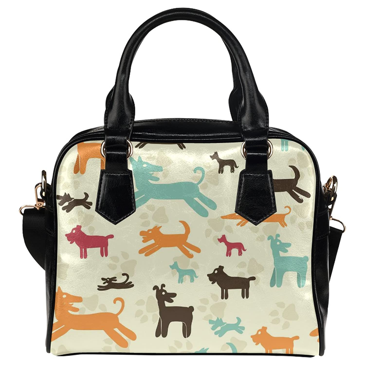 CASECOCO Paw Print Dachshund Puppy Women's PU Leather Purse Handbag Shoulder Bag