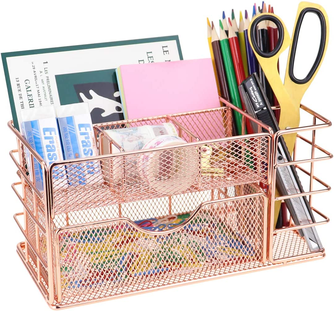 LEORISO Mesh Desk Organizer, Rose Gold Makeup Organizer with Drawer, Metal Office Supplies Desktop Organizer, Multifunctional Desk Accessories for Home Office School