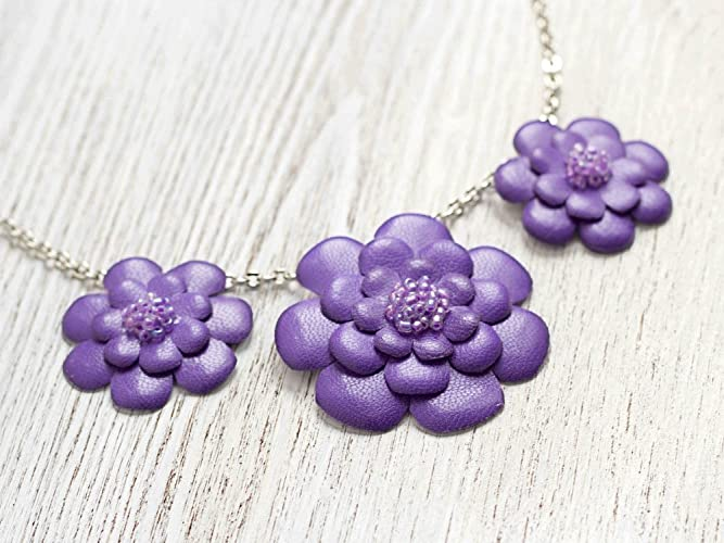 Purple Leather Flower Necklace by Katrinshine