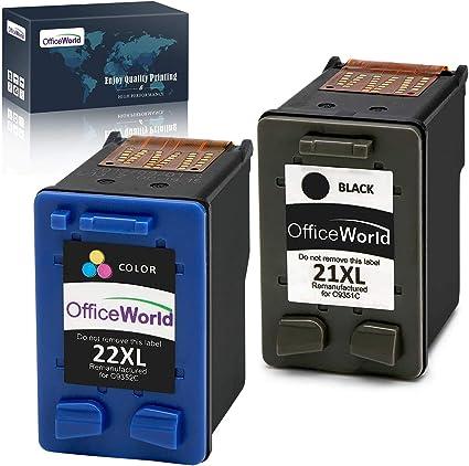 Imagen deOfficeWorld 21XL 22XL Cartucho de tinta refabricado para usar en lugar de HP 21 22 XL para HP PSC 1410 1417, HP Deskjet F370 F380 F4180 F2180 F2280 F2290 D2460 D1560 D1460 (1 Negro, 1 Tricolor)