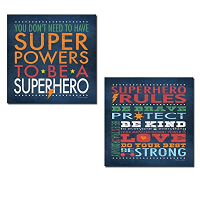 Popular Superhero Rules Set; Nusery or Child's Room Decor; Two 12x12in Prints: Home & Kitchen