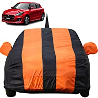 Autofact Car Body Cover for Maruti Swift (2018/2019) with Mirror and Antenna Pocket (Light Weight, Triple Stitched, Heavy Buckle, Bottom Fully Elastic, Orange Stripes with Navy Blue Color)