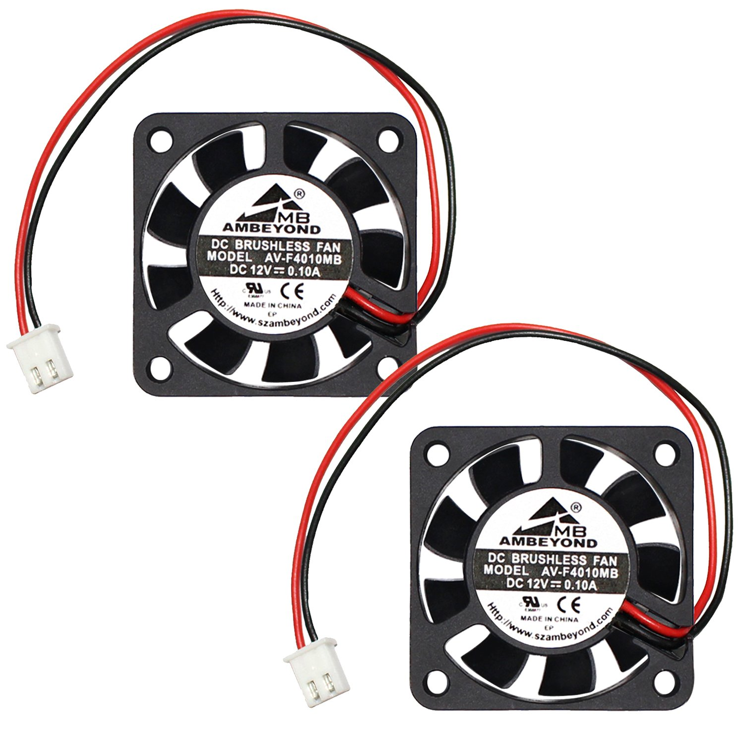 2-packs 40 x 40 x 10mm 4010 12V 0.10A Brushless DC Cooling Fan 2pin AV-F4010MB UL CE by AMBEYOND FAN (Image #1)