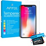 iPhone X Screen Protector, Affix (Ultra Clear) iPhone X Tempered Glass Screen Protectors [3D Touch] 0.3 mm Screen Protector Glass for Apple iPhoneX 2017 work with most case 99% Touch Accurate