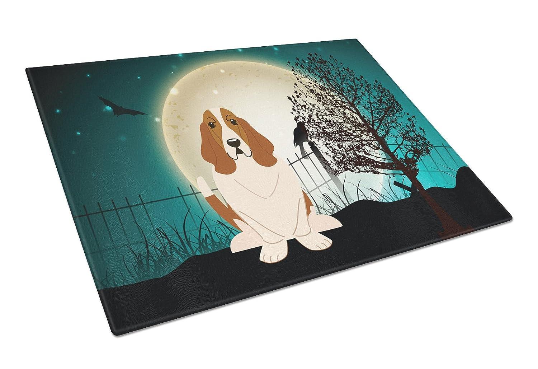 Multicolor Large Carolines Treasures BB2211LCB Halloween Scary Basset Hound Glass Cutting Board