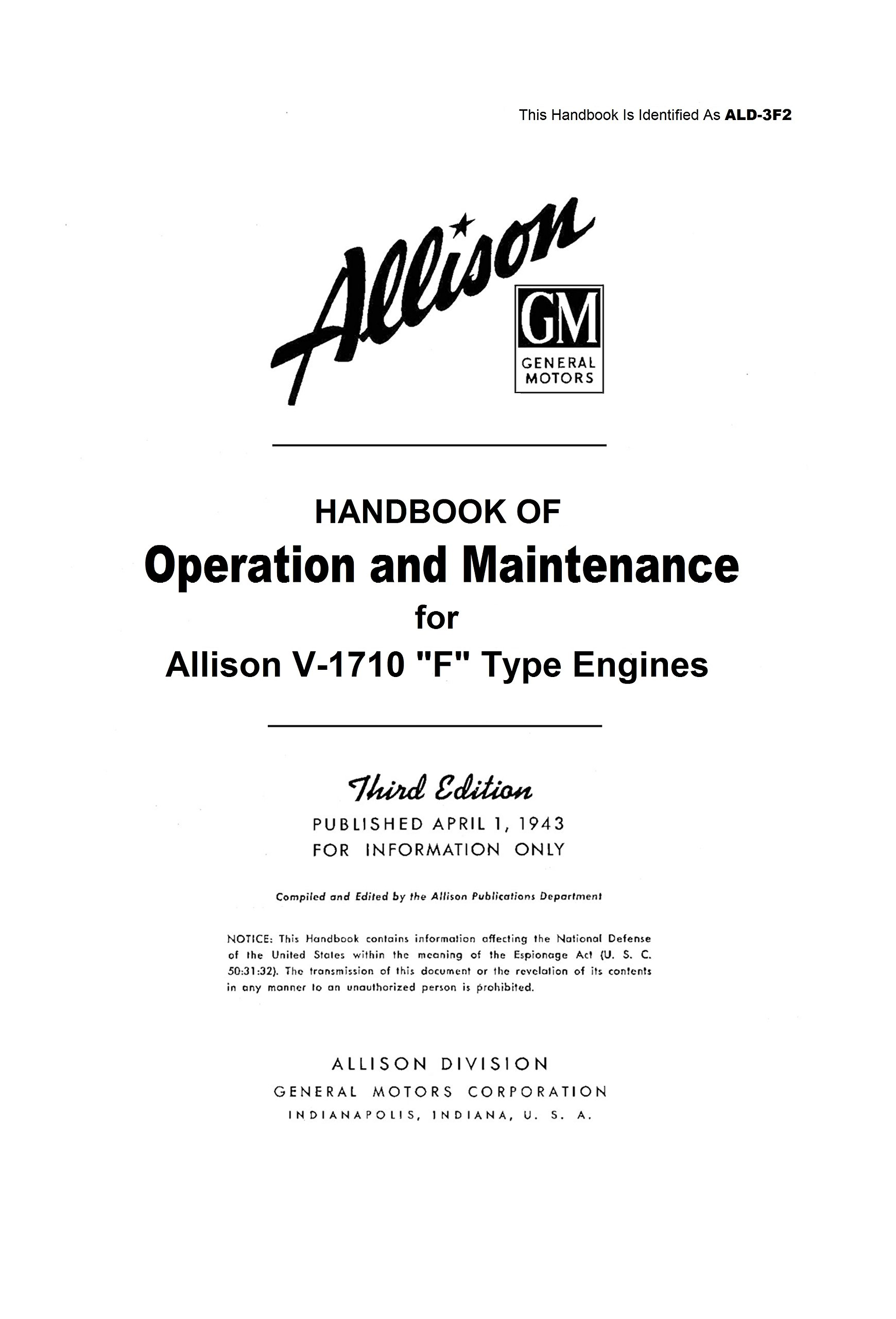 """Download Handbook of Operation and Maintenance for Allison V-1710 F Type """"F"""" Engines POH [Re-Imaged from Original 1943 Edition for Greater Clarity. Student Loose Leaf Facsimile Edition. 2017] ebook"""
