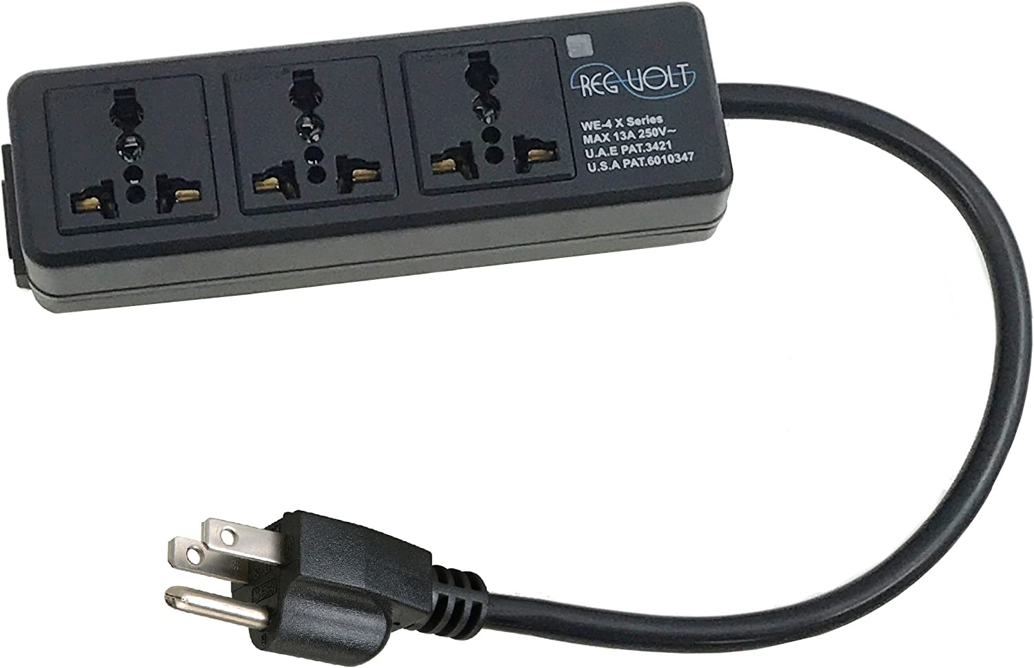 Regvolt Universal 3-outlet Power Strip for 110v-250v Worldwide World Wide Travel with Surge 13 Amps (USA Cord - 3 Outlet)