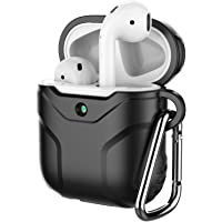 JETech Funda Compatible AirPods 1st y Airpods 2nd, Carcasa Protectora de Silicona (LED Visible al Frente), Negro