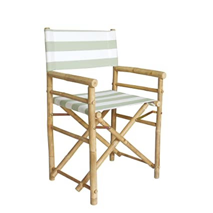 Zew Hand Crafted Foldable Bamboo Directoru0027s Chair With Treated Comfortable  Striped Canvas, Set Of 2