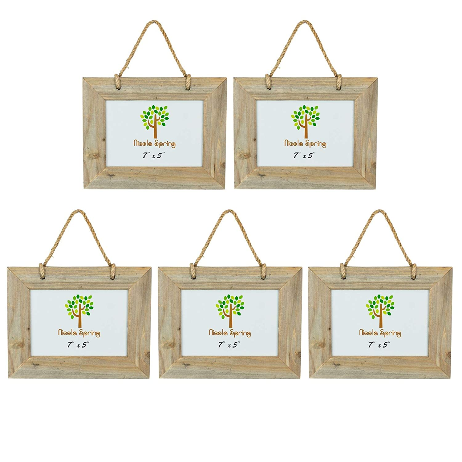 Pack of 5 Nicola Spring Wooden Hanging Picture Photo Frame Wall Display 7 x 5