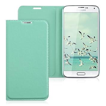 kwmobile Funda con Tapa para Samsung Galaxy S5 / S5 Neo en Menta con Recubrimiento de Cuero sintético