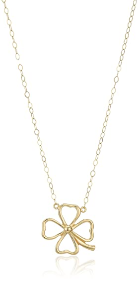 Amazon 14k yellow gold clover pendant necklace 17 jewelry 14k yellow gold clover pendant necklace 17quot aloadofball Image collections