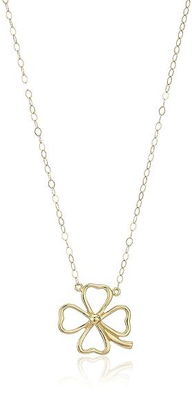 Amazon 14k yellow gold clover pendant necklace 17 jewelry 14k yellow gold clover pendant necklace 17quot aloadofball Choice Image