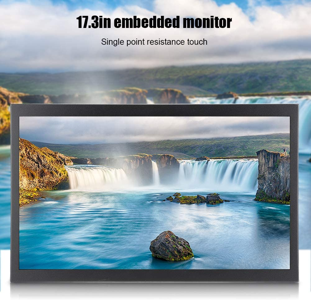 Monitor industriale in metallo completamente integrato da 17,3 pollici, touchscreen universale 16: 9 All-HD, supporto HDMI VGA AV USB, touchscreen a resistenza TFT a 160 ° 1920x1080 per PC, CCTV(UE)
