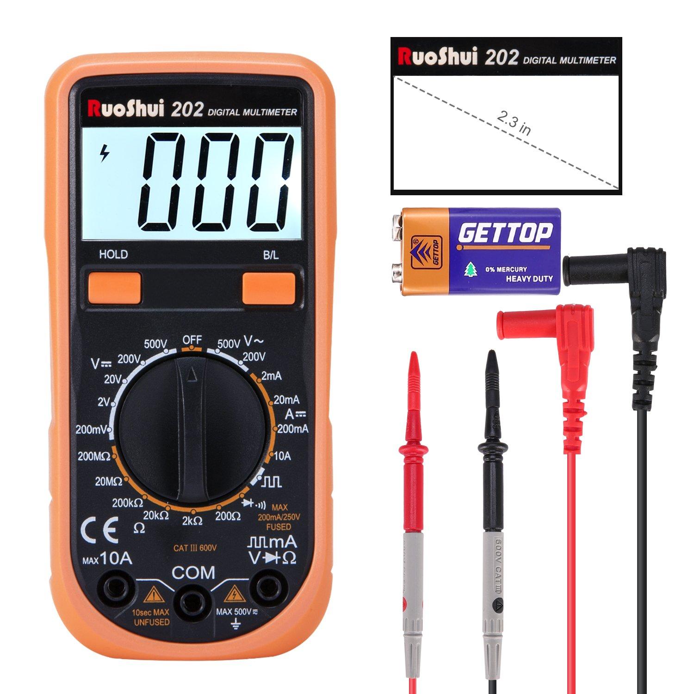 Digital Multimeter, Ruoshui Manual Ranging Ammeter MAX Range DC 10 Amp DC AC 500 Volt 200 Mega Ohm with 9V Battery & Testing Leads