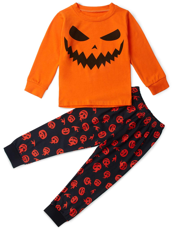 Loveternal Halloween Pumpkin Sleepwear Boys Girls Cute Cartoon Kids Pajamas 2Pcs Orange