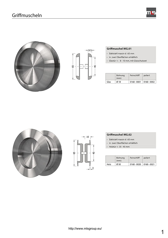 Griffmodell: MG.05, F/ür Glast/ür: 12 mm MLS Griffmuschel Muldengriff Edelstahl Schiebet/ür mehrere Modelle zur Auswahl