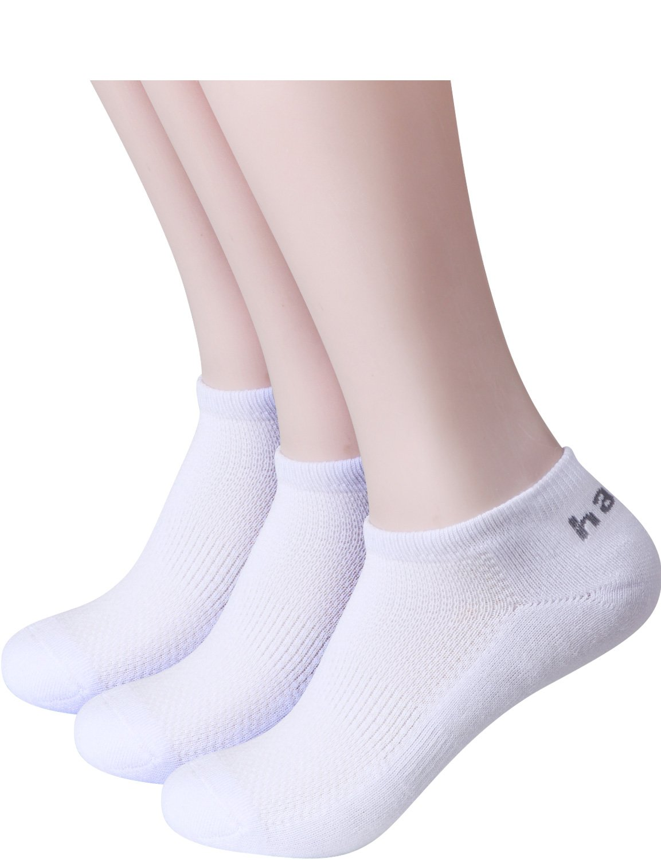 HASLRA Full Light Cushion Mesh Top Low Cut Socks 3 Pairs (WHITE)
