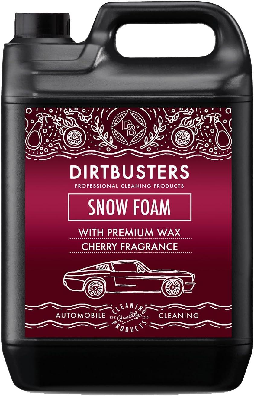 Dirtbusters Jabón Líquido Espumoso de Prelavado Snow Foam para Coches. Producto Altamente Espumante. Seguro, No Tóxico con Tratamiento de Polímeros. Acabado Profesional. Aroma a Cereza. 5 litros