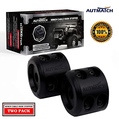 AUTMATCH Winch Cable Hook Stopper (2 Pack) Silicone Rubber Shock Absorbent Winch Stopper Best Winch Accessories for Wire & Synthetic Cables ATV UTV Prevent Pulling Eliminate Abrasion Bouncing Black: Automotive