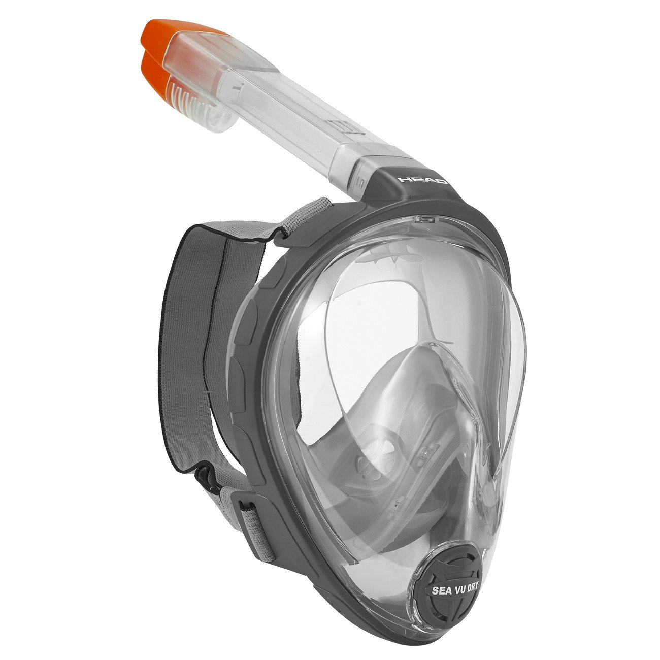 HEAD Sea Vu Dry Full Face Snorkeling Mask, Black/Grey - X-Small/Small (Made in Italy)