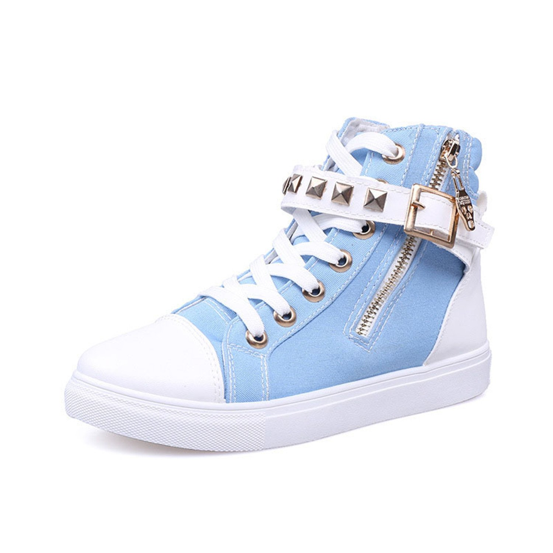 best service 07317 e9bc5 Perfues Lady Casual Shoes Women Sneaker Sneaker Sneaker Leisure High Top Shoes  Black Rivets Flats Zipper