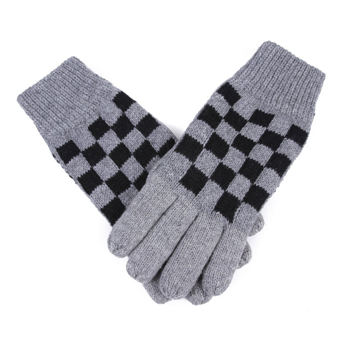 Damara Men & Boys Chessboard Pattern Warm Magic Gloves,Light Grey