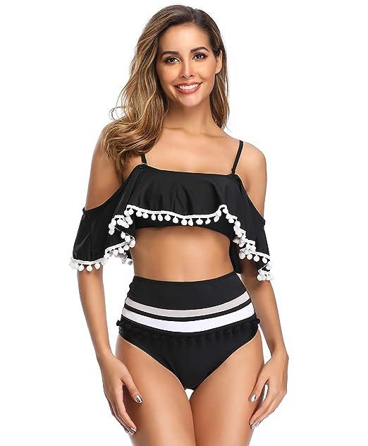 Sporlike Women Ruffle High Waist Swimsuit Two Pieces Push Up Tropical Print Bikini