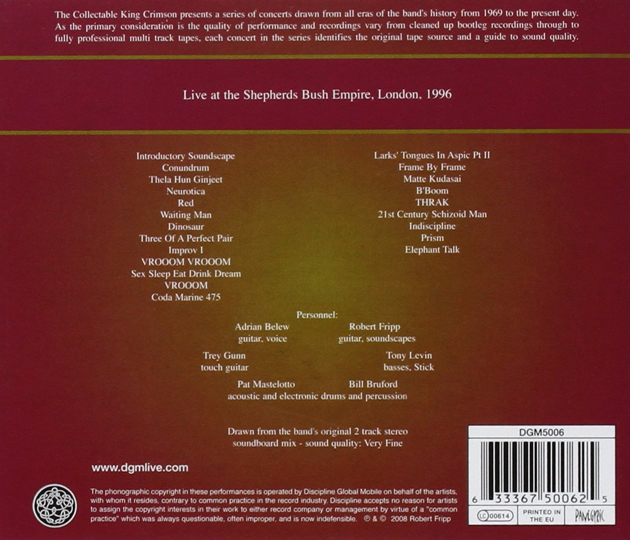 The Collectable King Crimson, Vol. 3: Live at the Shepherd's Bush Empire, London, 1996 by CD