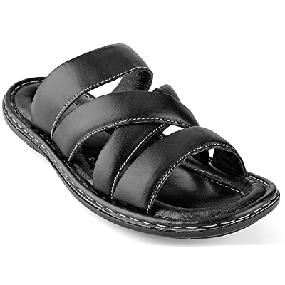 Men's Open Toe Sandals Top Grain Leather Soft Cushion Footbed Elegant Designs Black Brown Tan Sizes 7-13 | Sandals