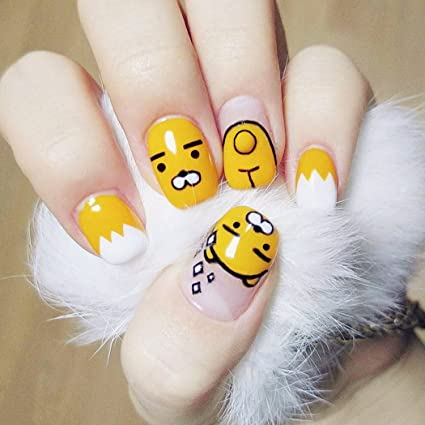 jovono mujeres amarillo de dibujos animados Full False Nail Tips Uñas Postizas kaokaofriends. Pasa ...