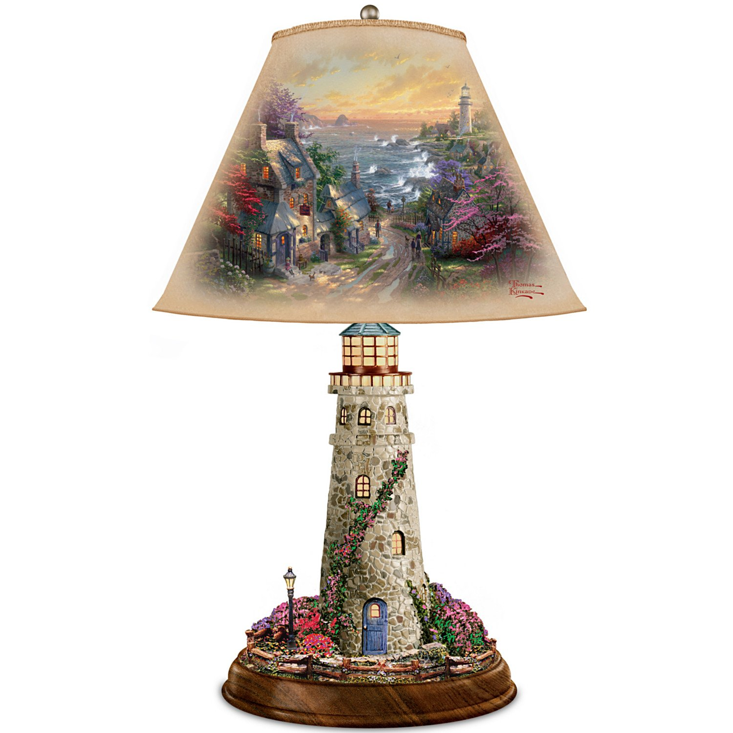 Thomas Kinkade Lamp With The Village Lighthouse Artwork On Shade And Lighthouse Base by The Bradford Exchange by Bradford Exchange (Image #1)