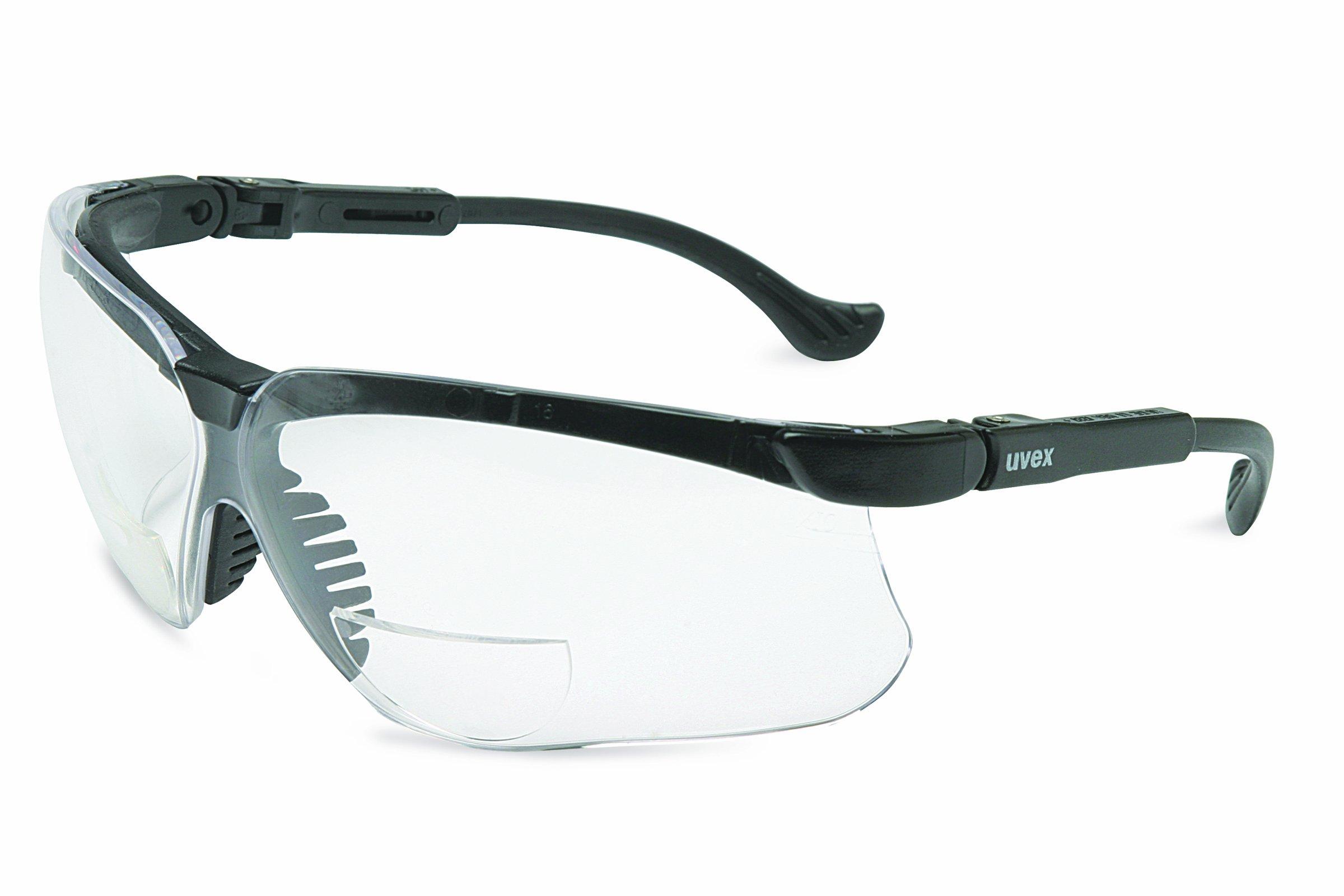 Uvex S3762 Genesis Reading Magnifiers Safety Eyewear +2.0, Black Frame, Clear Ultra-Dura Hardcoat Lens