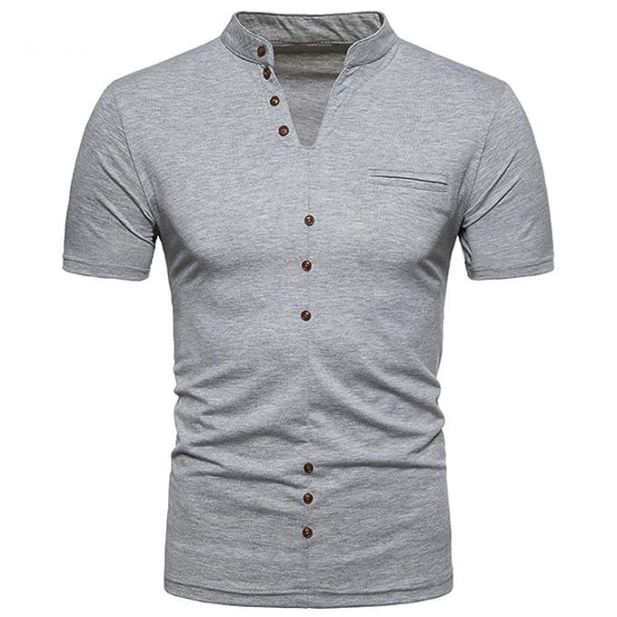 Venmo Hombres Verano Casual V Cuello Manga Corta de Camisetas Ropa Deporte Camisas de Vestir t Shirt Men v(Los Botones Son… Y1ETioKeN