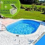 Kit piscina in acciaio SKYBLUE Comfort 800 h 1.20 con locale tecnico