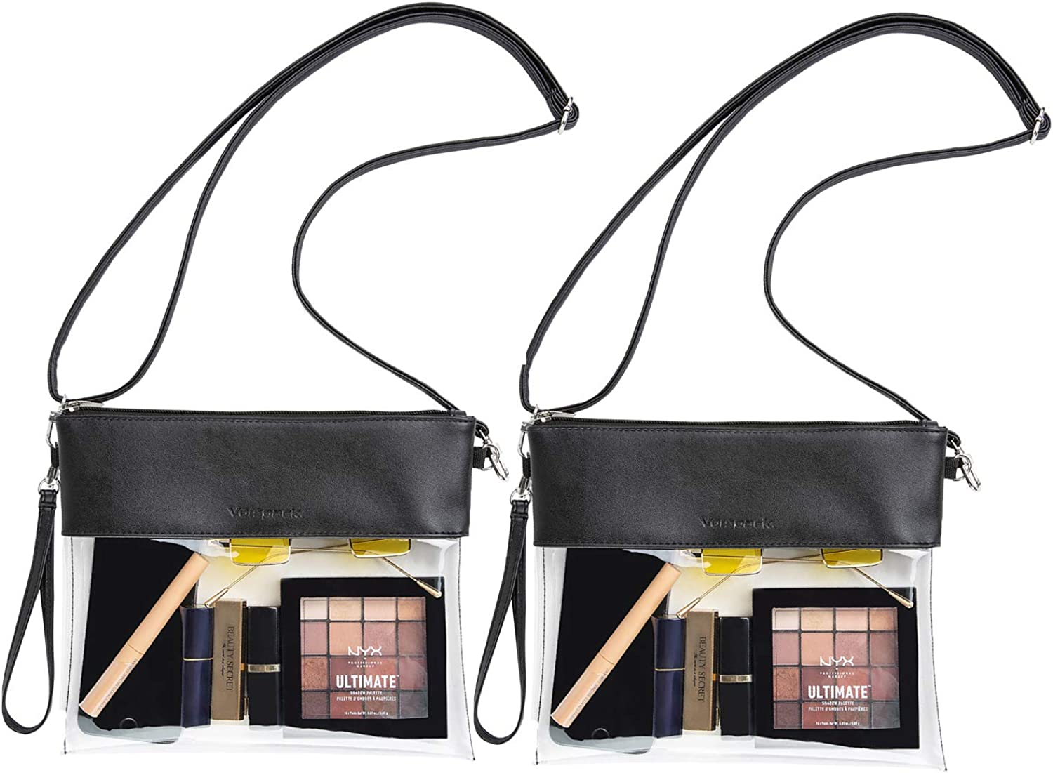 Vorspack Clear Crossbody Purse Stadium Approved PU Leather Black Clear Concert Bag 2 Pack