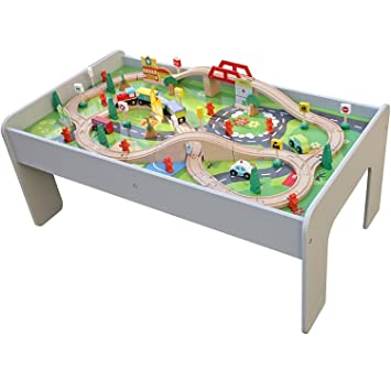 Pidoko Kids Train Table, Grey With 90 Pcs Train Set And Accessories    Perfect Toy