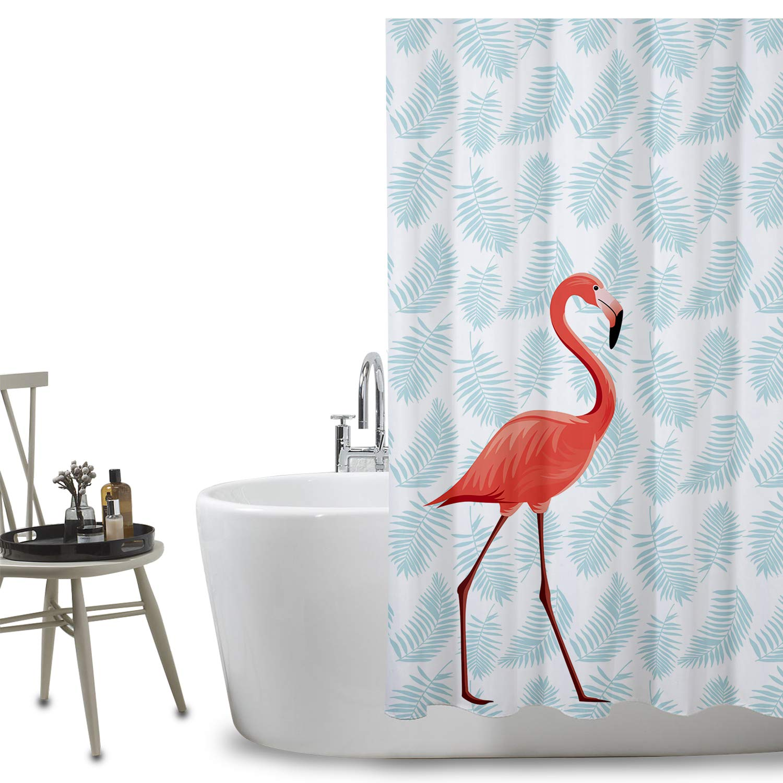 FuXing PEVA Shower Curtain Waterproof and Mildewproof Digital Printed Bath Curtains Bathroom Accessories 180 x 200 cm (Flamingo)