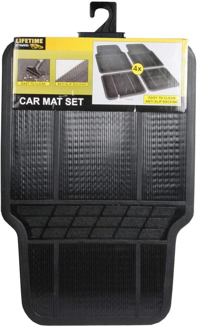 tama/ño universal y resistente al agua Pack 4 alfombrillas de goma para coche
