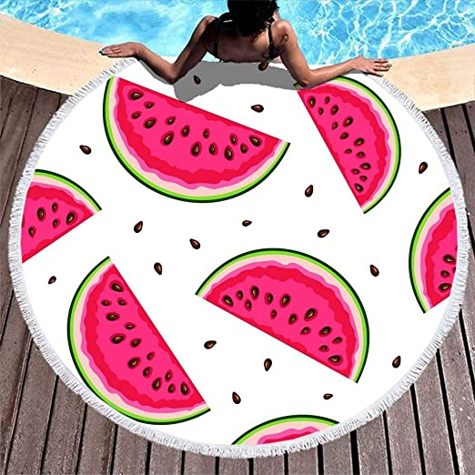 Shinelly - Toalla de Playa, Esterilla de Yoga, Mandala India, Redonda, algodón, Mantel, Toalla de Playa, Esterilla de Yoga Redonda, Bufanda, 59 en la Playa, Wassermelone, 150 cm: Amazon.es: Hogar
