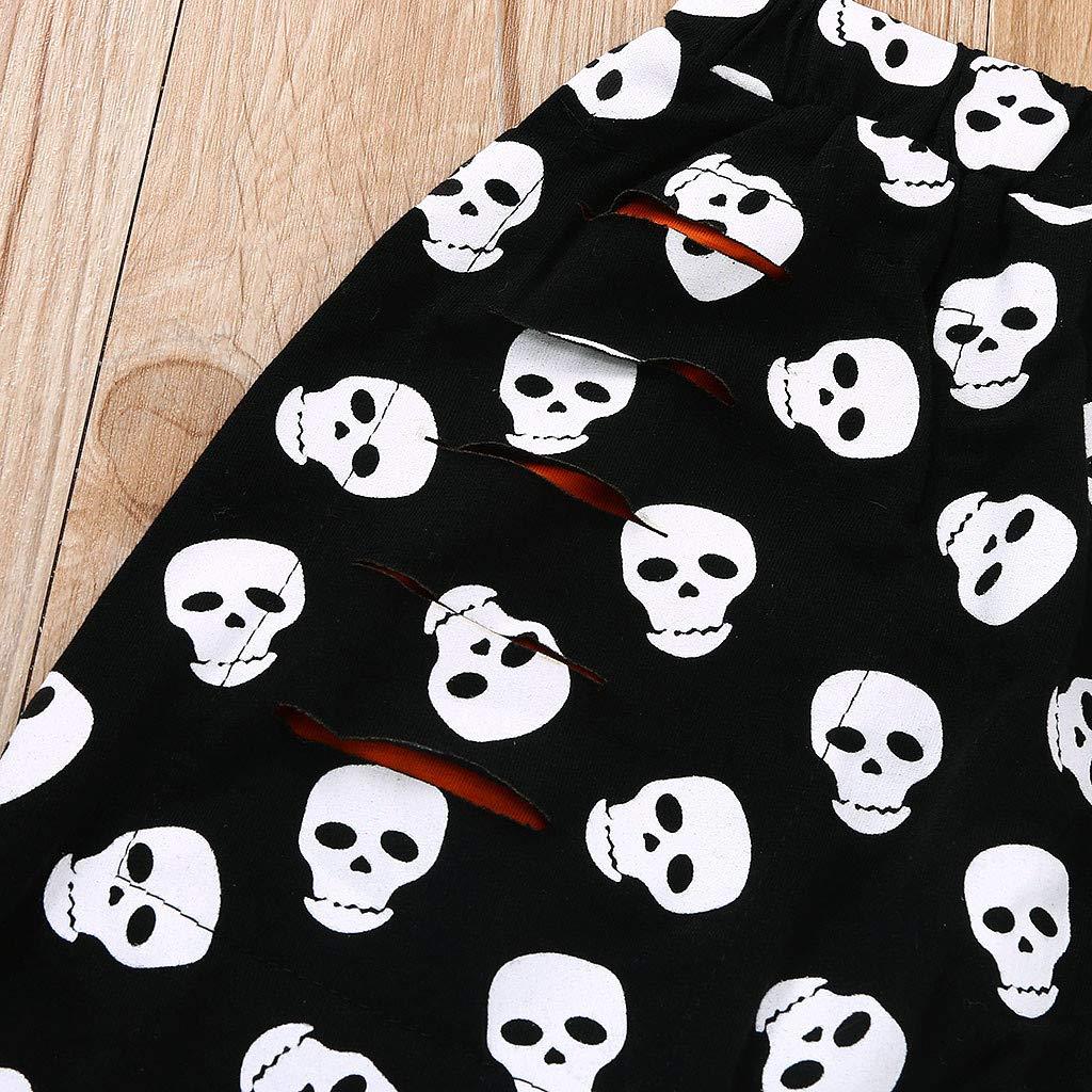 Tute Completo Neonato Ragazza 2 3 4 Anni 12-24 Mesi Felpa Abbigliamento Bimbo 2 3 4 Anni Vestiti Bambina Inverno Autunno Bambino Halloween Lettera T-Shirt Tops Cartoon Skull Hole Pantaloni Abiti