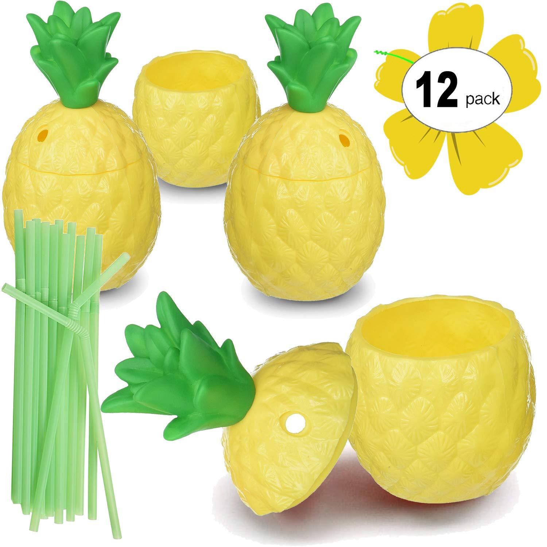 Hogue WS LLC Plastic Pineapple Luau Cups for Fun Hawaiian Children's Parties – Bulk 12 Pack – Includes Straws – Tiki Beach Theme Party Supplies (1 Dozen)