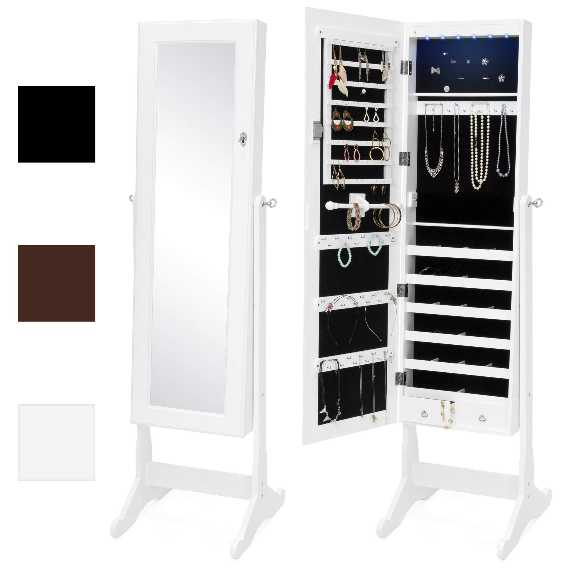 Best Choice Products 6-Tier Standing Mirror Lockable Storage Organizer Cabinet Armoire w/LED Lights - White