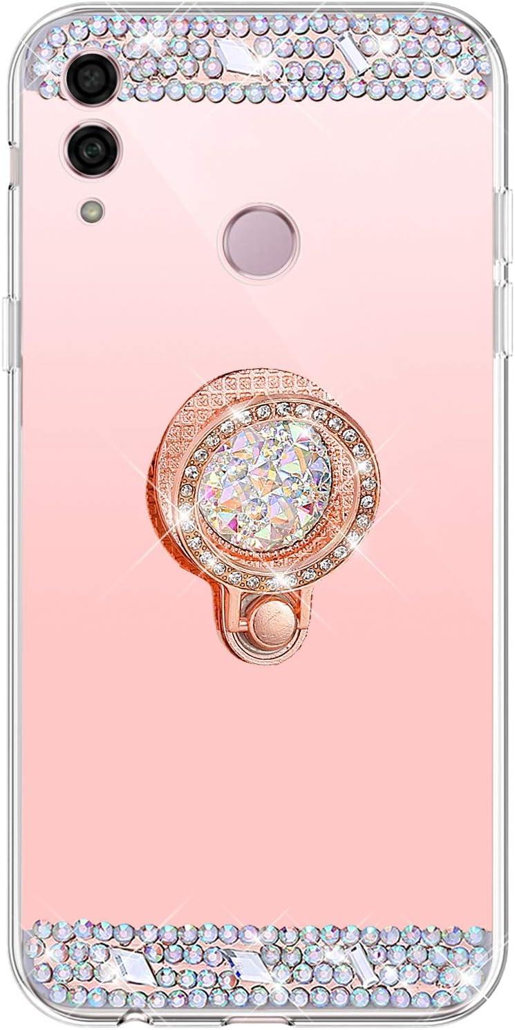 MoreChioce kompatibel mit Huawei Honor 10 Lite H/ülle,Huawei P Smart 2019 Glitzer H/ülle mit Ring,Bling Glitzer Silber Spiegel Silikon Diamant Schutzh/ülle Strass Crystal Bumper mit St/änder